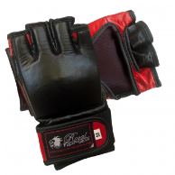 Leather MMA Fight Gloves w/o Thumb - Black/Red