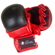 Leather MMA Training Gloves - Red/Black