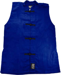 Sleeveless Kung Fu Jacket - Blue with Black Frogs