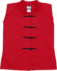 Sleeveless Kung Fu Jacket - Red with Black Frogs
