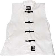 Sleeveless Kung Fu Jacket - White with Black Frogs