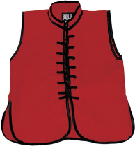 Sleeveless Kung Fu Jacket - Red with Black Laces