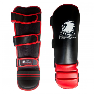 Artificial Leather MMA Shin Guards - Black/Red