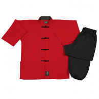 8 oz Middleweight Kung Fu Uniform - Red and Black