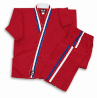 8 oz Karate Team Uniform - Red with Red, White & Blue Stripes
