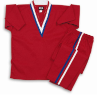 8 oz V-Neck Team Uniform - Red with Red, White & Blue Stripes