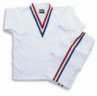 8 oz V-Neck Team Uniform - White with Red, White & Blue Stripes