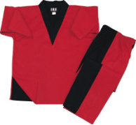 8 oz V-Neck Team Uniform - Red and Black