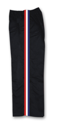 8 oz Middleweight Karate Pants - Black with Red, White & Blue Stripes