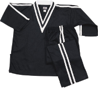 8 oz V-Neck Team Uniform - Black with White Double Stripes