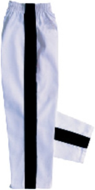 8 oz Middleweight Karate Pants - White with Black Stripe