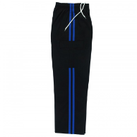 Martial Arts Cargo Pants - Black With Blue Stripes