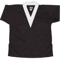 8.5 oz V-Neck Martial Arts Top - Black with White