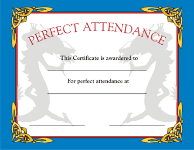 Perfect Attendance Certificate - Pack of 10