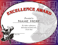 Excellence Award Certificate - Pack of 10