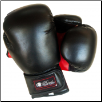 Artificial Leather Boxing Gloves - 12 oz - Black/Red (SKU: 104-BR-12)
