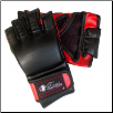 Leatherette MMA Fight Gloves w/o Thumb - Black/Red (SKU: 106-BR)