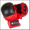 Leather MMA Training Gloves - Red/Black (SKU: 109-RB)