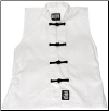Sleeveless Kung Fu Jacket - White with Black Frogs (SKU: 1100-WB)