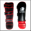 Artificial Leather MMA Shin Guards - Black/Red (SKU: 118-BR)