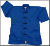 Middleweight Long Sleeve Kung Fu Jacket - Blue with Black Frogs (SKU: 1300-BLB)