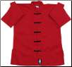 Middleweight Long-Sleeve Kung Fu Jacket - Red with Black Frogs (SKU: 1300-RB)