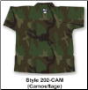 8.5 oz V-Neck Martial Arts Top - Camouflage (SKU: 202-CAM)