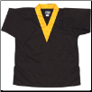 8.5 oz V-Neck Martial Arts Top - Black with Gold (SKU: 6500-BGO)
