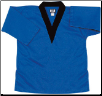 8.5 oz V-Neck Martial Arts Top - Blue with Black (SKU: 6500-BLB)