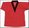8.5 oz V-Neck Martial Arts Top - Red with Black (SKU: 6500-RB)