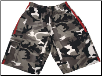 Martial Arts Cargo Shorts - White Camo With Red Stripes (SKU: 780-WCAMR)