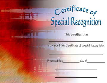 martial arts certificate of special recognition