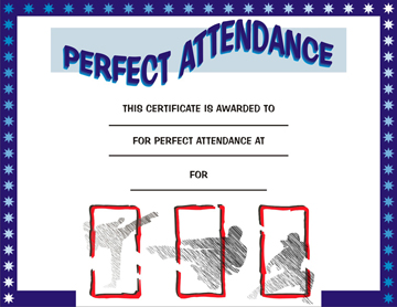 martial arts certificate for perfect attendance