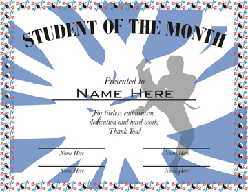 student of the month martial arts certificate