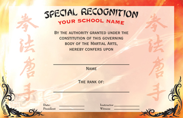 martial arts rank certificate of special recognition