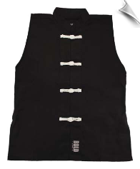 Sleeveless Kung Fu Jacket - Black with White Frogs