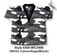 8.5 oz V-Neck Martial Arts Top - White Camo with Black