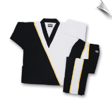 8 oz V-Neck Team Uniform - Black with White & Gold
