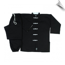 8 oz Middleweight Kung Fu Uniform - Black with White
