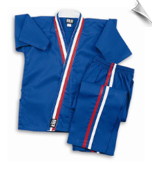 8 oz Karate Team Uniform - Blue with Red, White & Blue Stripes