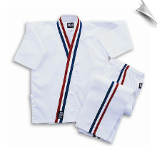 8 oz Karate Team Uniform - White with Red, White & Blue Stripes
