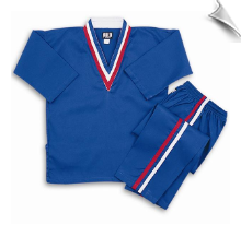 8 oz V-Neck Team Uniform - Blue with Red, White & Blue Stripes