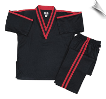 8 oz V-Neck Team Uniform - Black with Red Double Stripes