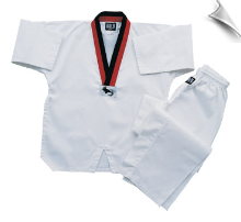 7.5 oz Middleweight TKD Uniform - White with Red & Black