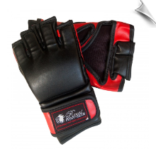 Leatherette MMA Fight Gloves w/o Thumb - Black/Red