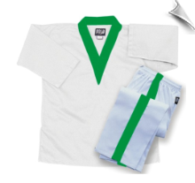 8 oz Middleweight V-Neck Martial Arts Uniform - White with Green Trim