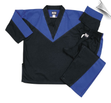 8 oz V-Neck Team Uniform - Black with Blue