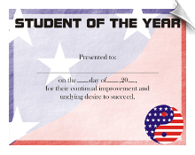 Student of the Year Certificate - Pack of 10