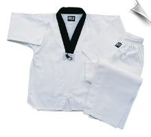 7 oz Middleweight Ribbed TKD Uniform - White with Black