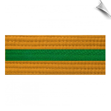 Gold Martial Arts Rank Belt with Colored Stripe